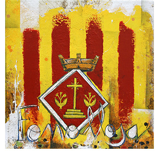 artdelaterra - quadre fet a ma amb quatre barres i escut de poble