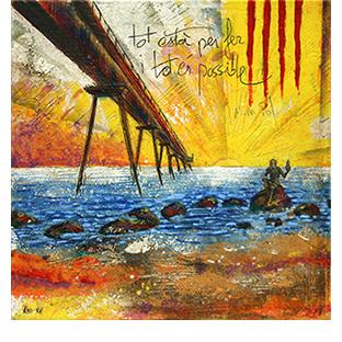 artdelaterra - quadre fet a mida amb el pont del petroli de badalona i quatre barres