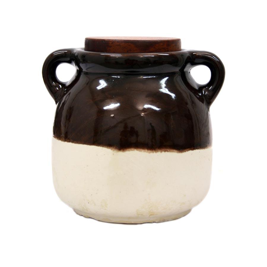 Vista posterior del pot de ceràmica per a Farina