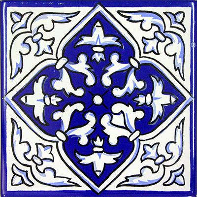 Reproducció d'una rajola amb motiu floral del s.XVIII.