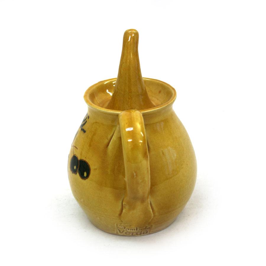 Vista lateral 2 del cetrill d'oli amb bec de ceràmica