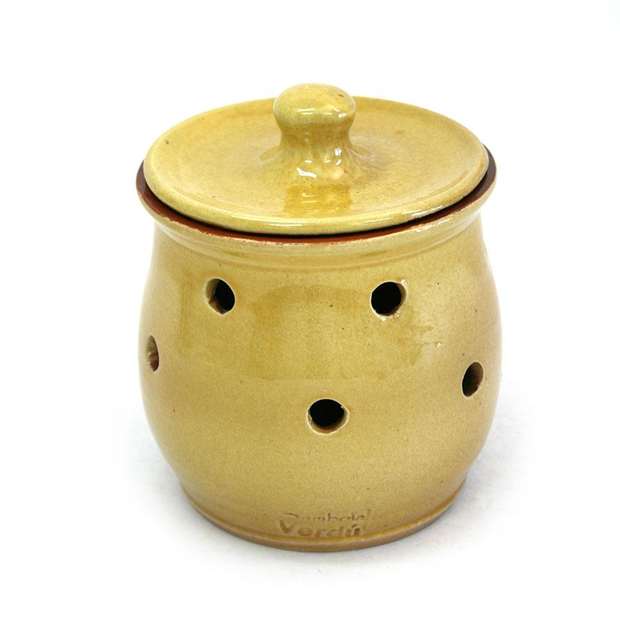 Vista posterior del pot per a alls de ceràmica