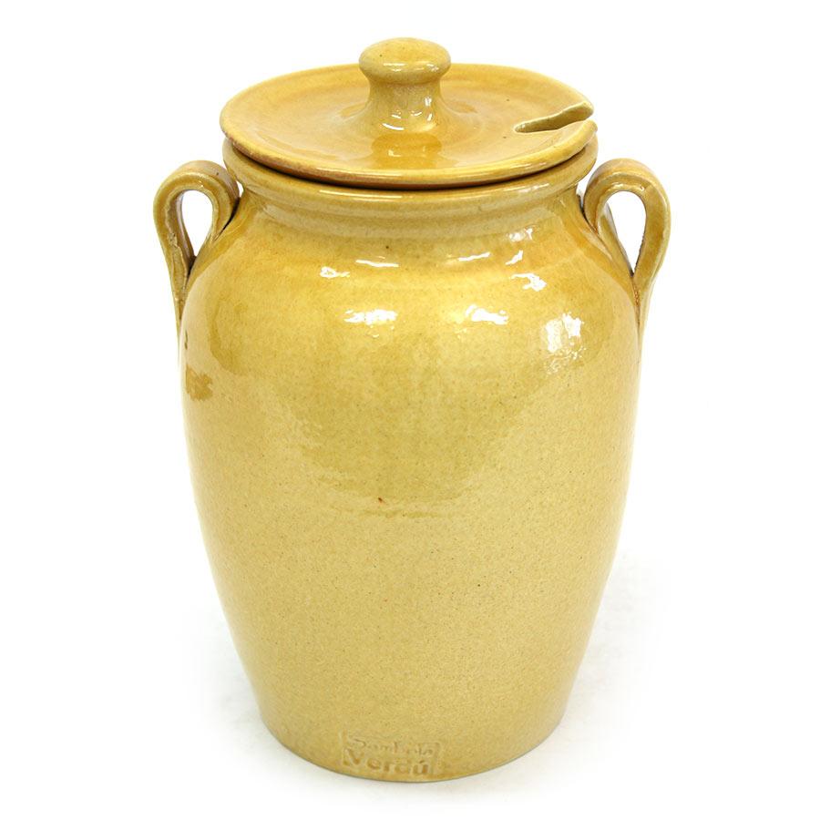 Vista posterior del pot de ceràmica per a olives