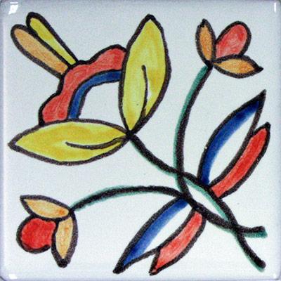 Rajoleta de ceràmica amb flor
