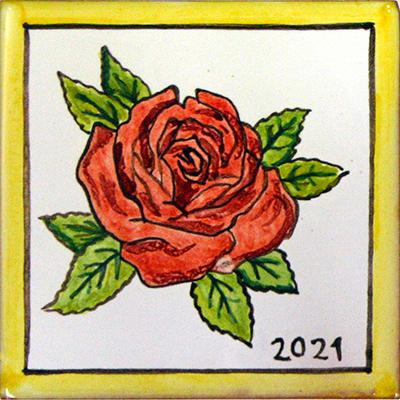 Rajoleta de ceràmica amb rosa