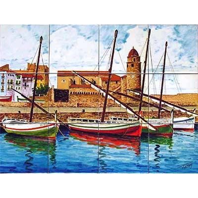 Mural de ceràmica 'Barques al port de Colliure'