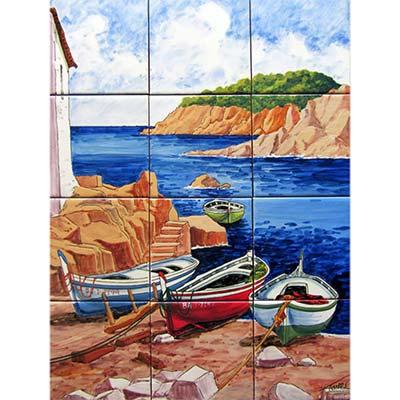 Mural de ceràmica amb Barques a la platja