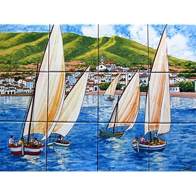 Mural de ceràmica 'Trobada de velers a Cadaqués'