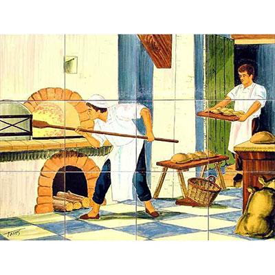 Mural de ceràmica amb l'ofici de forner