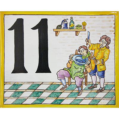 Rètol amb número i dibuix d'ofici