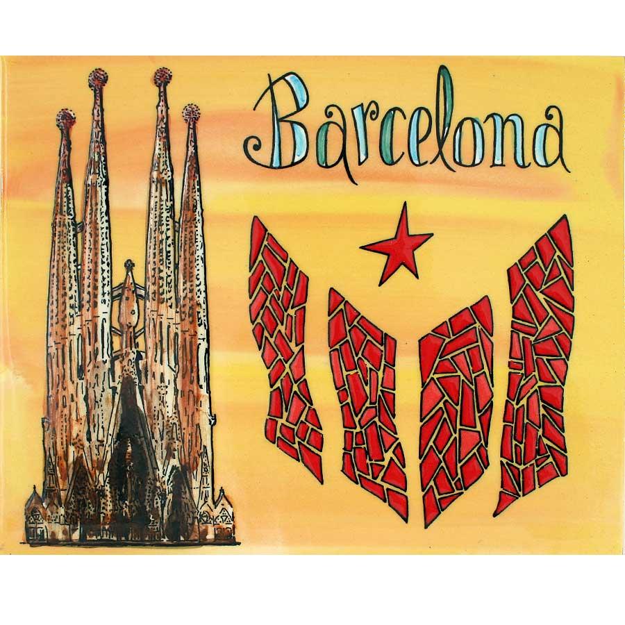 Rajola amb Sagrada Família, estelada i 'Barcelona'