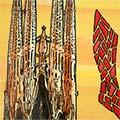 Detall de rajola de ceràmica amb Sagrada Família, estelada i Barcelona