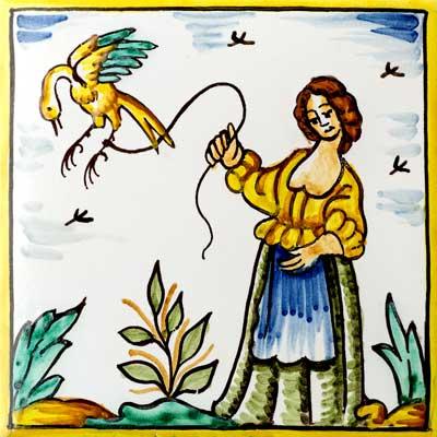 Rajola de dona amb ocell