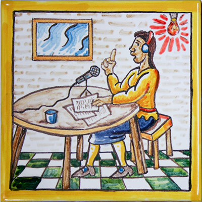 Rajola amb locutora de radio