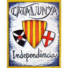 Rajola amb escuts i 'Catalunya' i 'Independència'