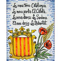 Rajola amb escut de Catalunya, roses i text