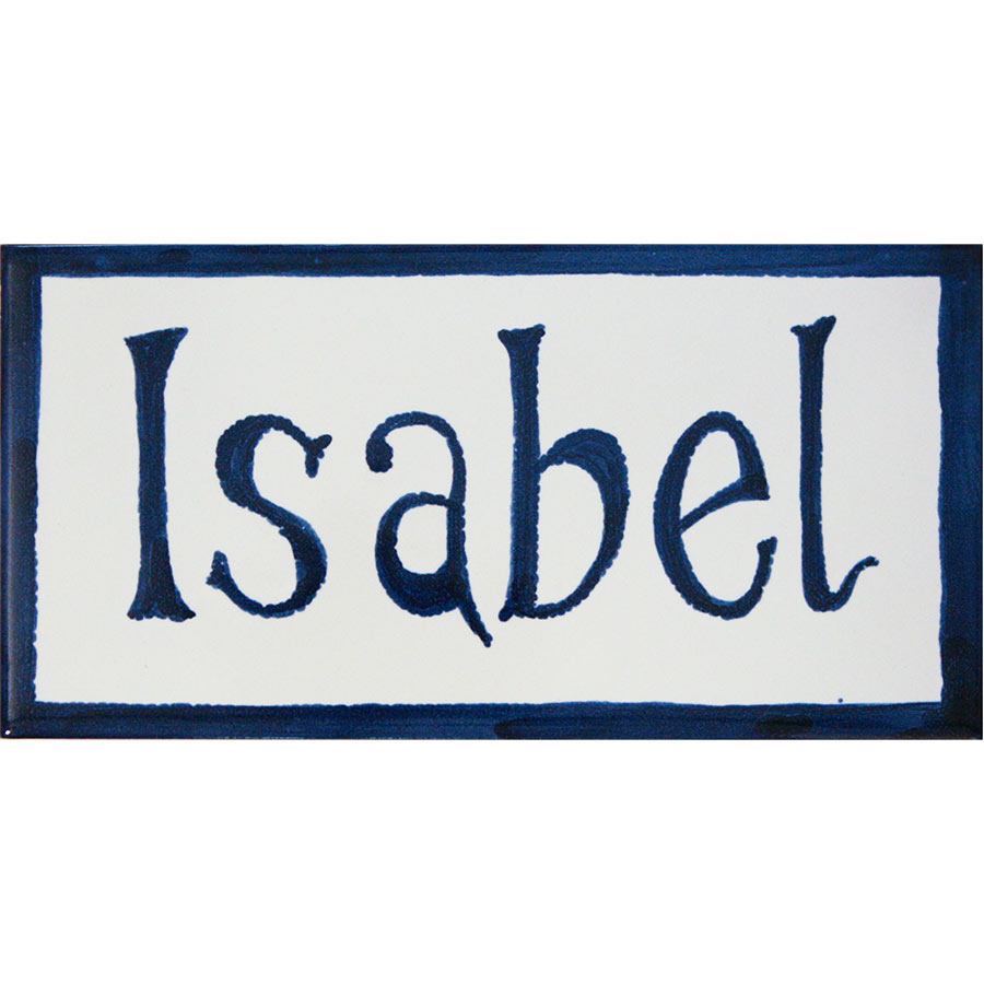 Rajola amb Isabel pintat a mà