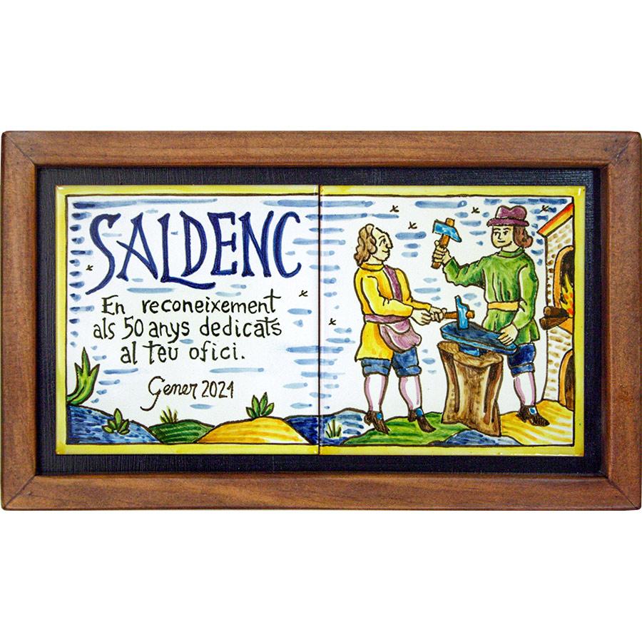 Rètol amb lletres i dibuix d'ofic + Marc de fusta