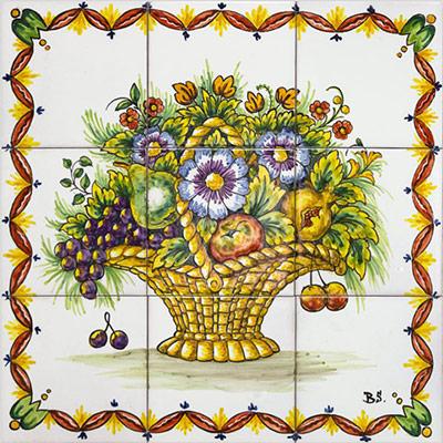 Mural amb cistell de flors