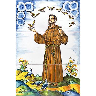 Mural de ceràmica amb St. Francesc