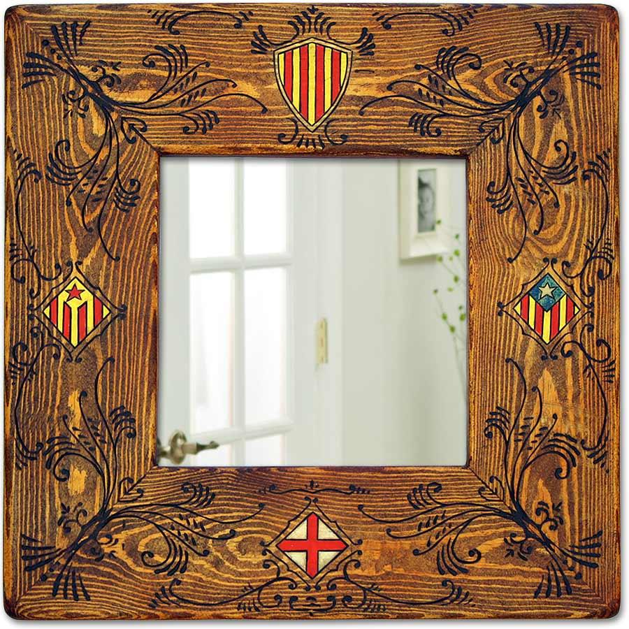 Mirall amb 4 escuts catalans