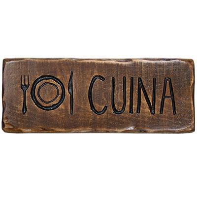 Rètol de fusta estil 'càmping'