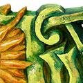 Detall de les lletres tallades i pintades a mà