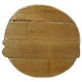 Vista posterior del Rètol de fusta tallat a mà