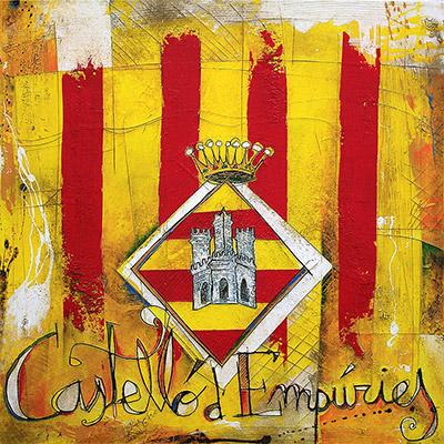 Senyera amb escut de Castelló d'Empuries