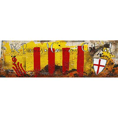 Senyera, escut St. Jordi i Omnium Cultural