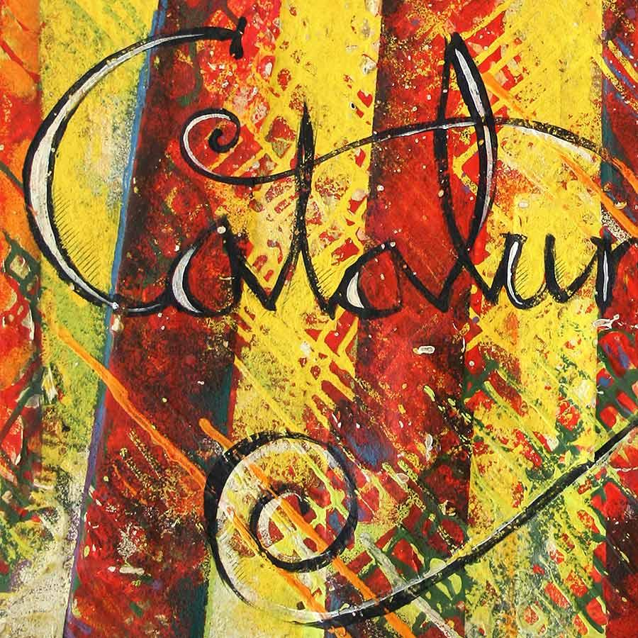 Detall del quadre amb estelada, Països catalans i 'Catalunya'