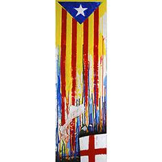 Estelada blava i creu de St. Jordi amb colors