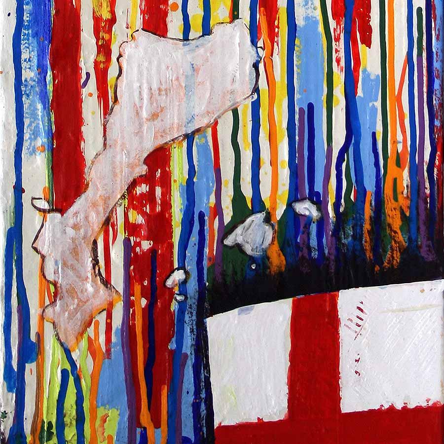 Detall del quadre amb estelada, creu St. Jordi i Països catalans