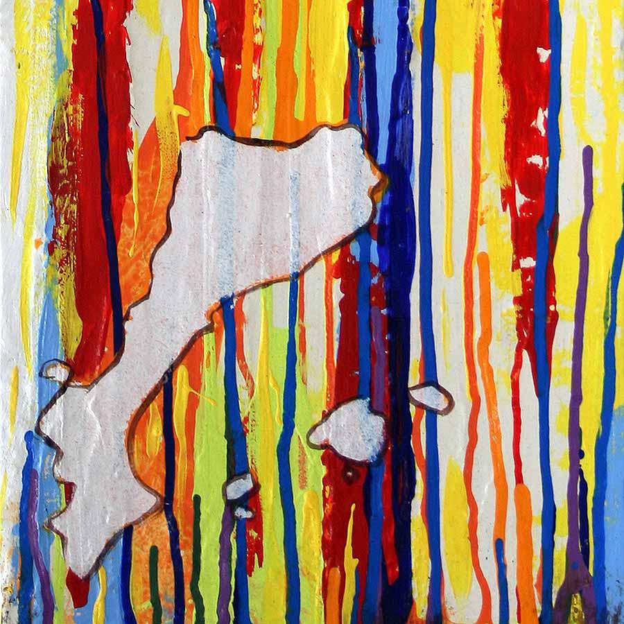 Detall de la pintura amb estelada i Països catalans de colors
