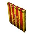 Vista 3/4 del quadre amb senyera, Països catalans i 'Catalunya'