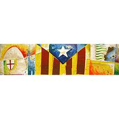 Estelada blava amb creu de St. Jordi i PPCC