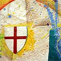 Detall del quadre amb estelada roja, creu St. Jordi i PPCC