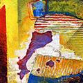 Detall del quadre amb estelada i Països catalans de colors