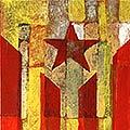 Detall del quadre d'estelada roja amb colors