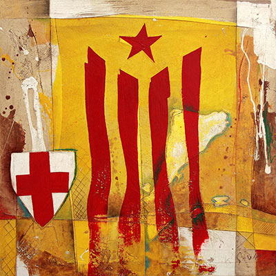 Estelada i escut de St. Jordi