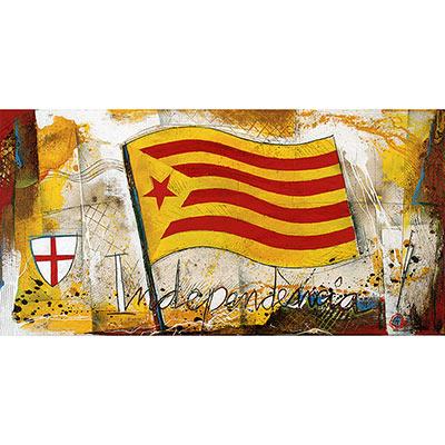 Estelada roja onejant i escut de St. Jordi