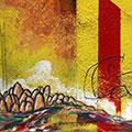 Detall del quadre horitzontal amb estelada roja muntanyes de Montserrat creu Sant Jordi i Països Catalans