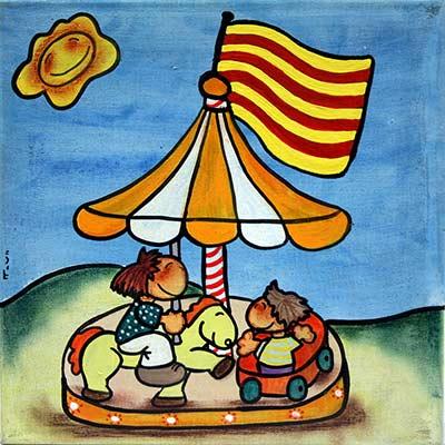 Quadre amb nens al cavallets i senyera