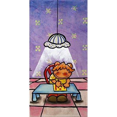 Quadre amb nena pintant estelada sota la llum