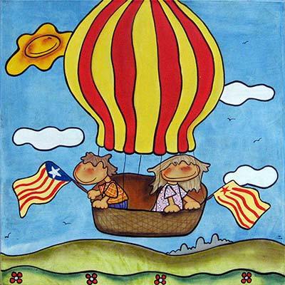 Quadre infantil amb nens pujats en globus