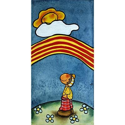 Quadre amb nen mirant arc de Sant Martí català