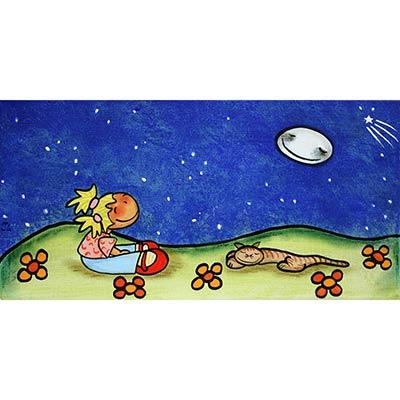 Quadre amb nena i gat dins nit estelada