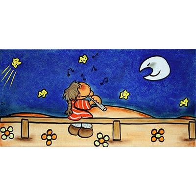 Quadre amb flautista dins nit estelada