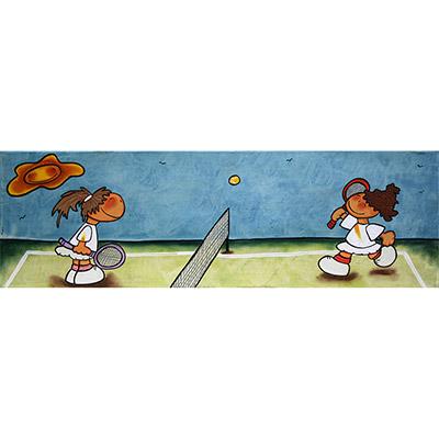 Quadre amb nenes jugant a tenis