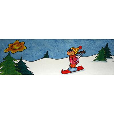 Quadre amb nena esquiant